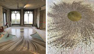 Mars 2019 – Work in progress – sol en mosaïque de marbre sur le thème de la méduse.