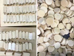 Mathilde Jonquière, artiste mosaïste, mai 2019, boutique Cartier Serrano, Madrid. Echantillons de marbre pour la construction du sol