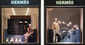 Janvier 2018 – Hermès – Maison de jeux. Le monde de la magie met en mouvement les accessoires des vitrines des boutiques Hermès.
