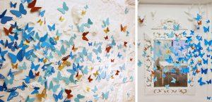 Octobre 2018 – POP-UP STORE – MOROCCANOIL – Constitué de plumes et de feuilles de papier, le photocall de l'événement est recouvert de centaines de papillons de tailles différentes qui semblent s'en échapper, dans un dégradé aux couleurs de Color Complete. Ces petits éphémères en papier se posent sur les objets de l'Atelier blanc, mettant en exergue les détails de cette collection singulière.