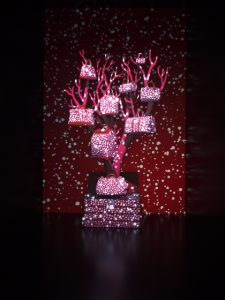 Décembre 2013 -Louis Vuitton –  la généalogie des sacs de ville – boutique des champs-élysées. A l'occasion de l'exposition «Les sacs de ville Louis Vuitton : une histoire naturelle» en Chine, Soline d'Aboville revisite l'arbre généalogique sur lequel sont suspendus 9 familles de sacs réalisés grâce au procédé de l'impression 3D. La succession des fonds suggère le porté des sacs à travers les époques.