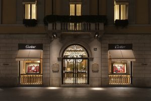 Soline d'Aboville, scénographe, janvier 2020, Nouvel An Chinois, vitrines Cartier, Milan.