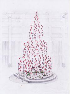 Le travail artistique de William Amor veille à sensibiliser le public chinois sur les matériaux jetés et qui  deviennent pollution. Esquisse du projet «A Year of Something New» pour Landmark Hong Kong. artiste upcycling.