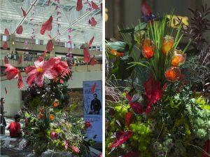 Parmi les matériaux utilisés, les bouteilles en plastique sont celles ramassées par l'association The Green Earth – Les tulipes (droite) sont réalisées avec les bouteilles en plastique collectées auprès des visiteurs du Mall Landmark Hong Kong lors d'un workshop animé par William Amor – Juin 2018. (détail) artiste upcycling.