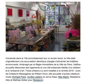 Franceinfo culture, article de Corinne Jeammet, 27 octobre 2019